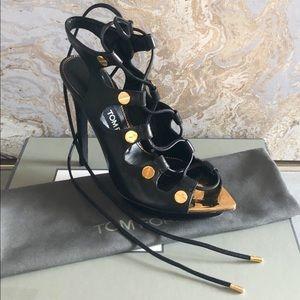 Tom Ford Multi-strap Black Leather Sandals